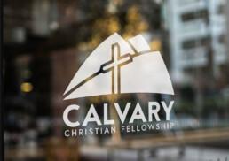 Calvary Christian Fellowship Glass Door Sign